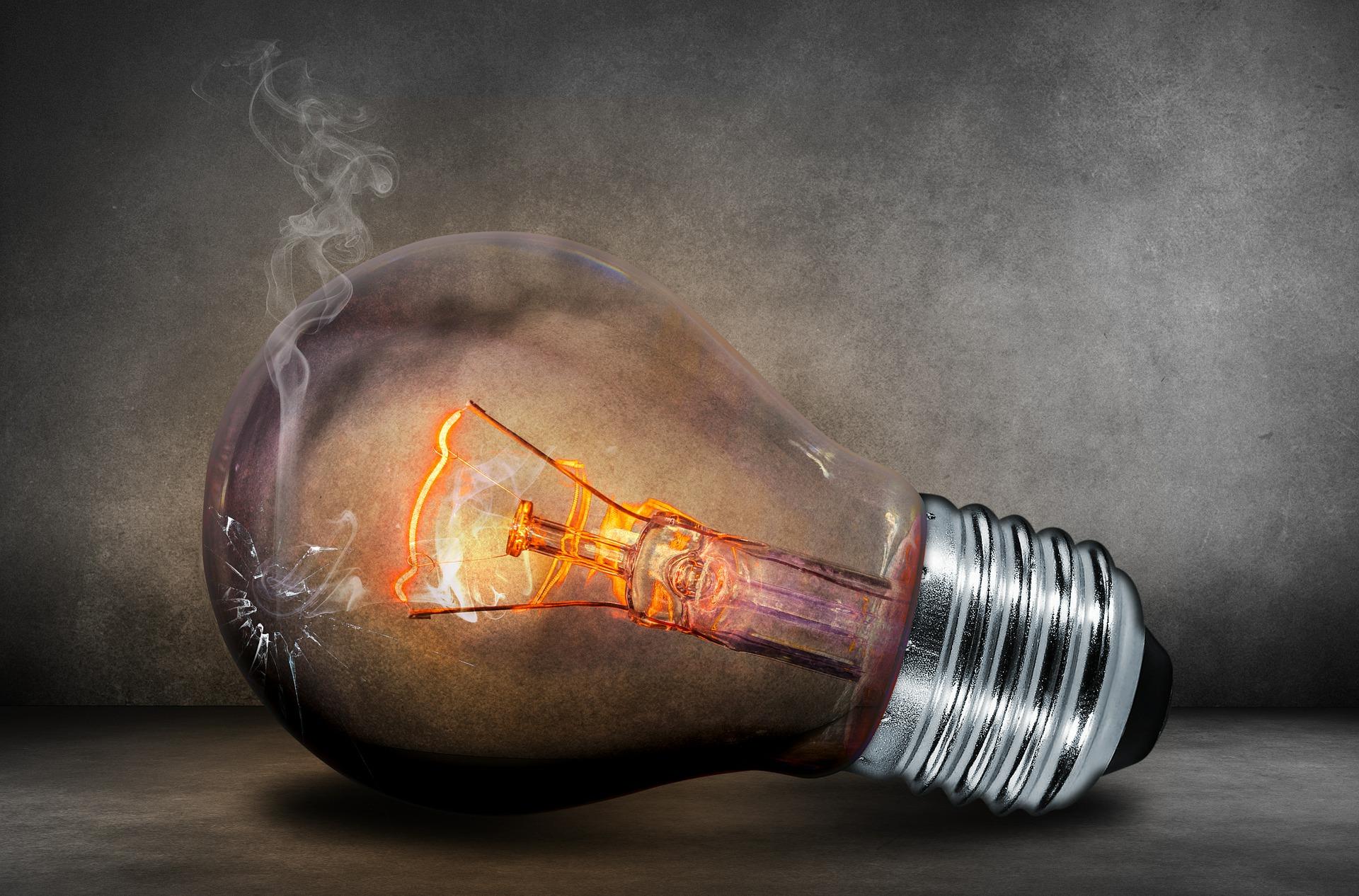Ampoule électrique en fin de vie